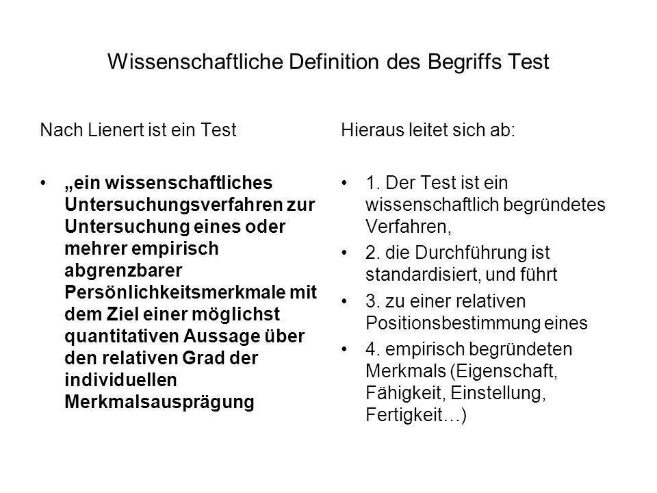 Wissenschaftliche Definition des Begriffs Test