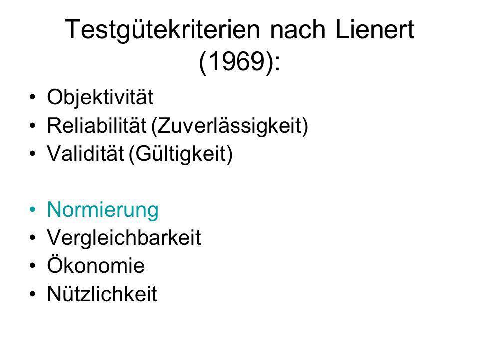 Testgütekriterien nach Lienert (1969):