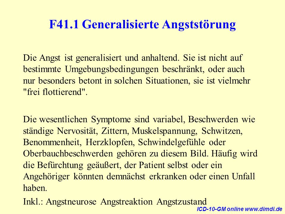 F41.1 Generalisierte Angststörung