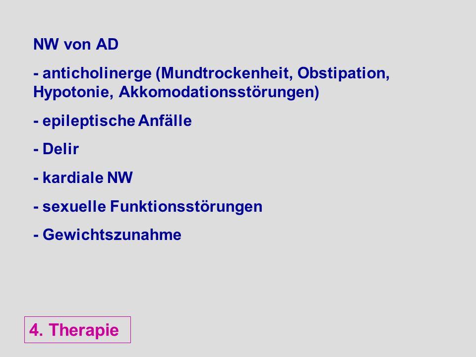 NW von AD - anticholinerge (Mundtrockenheit, Obstipation, Hypotonie, Akkomodationsstörungen) - epileptische Anfälle.