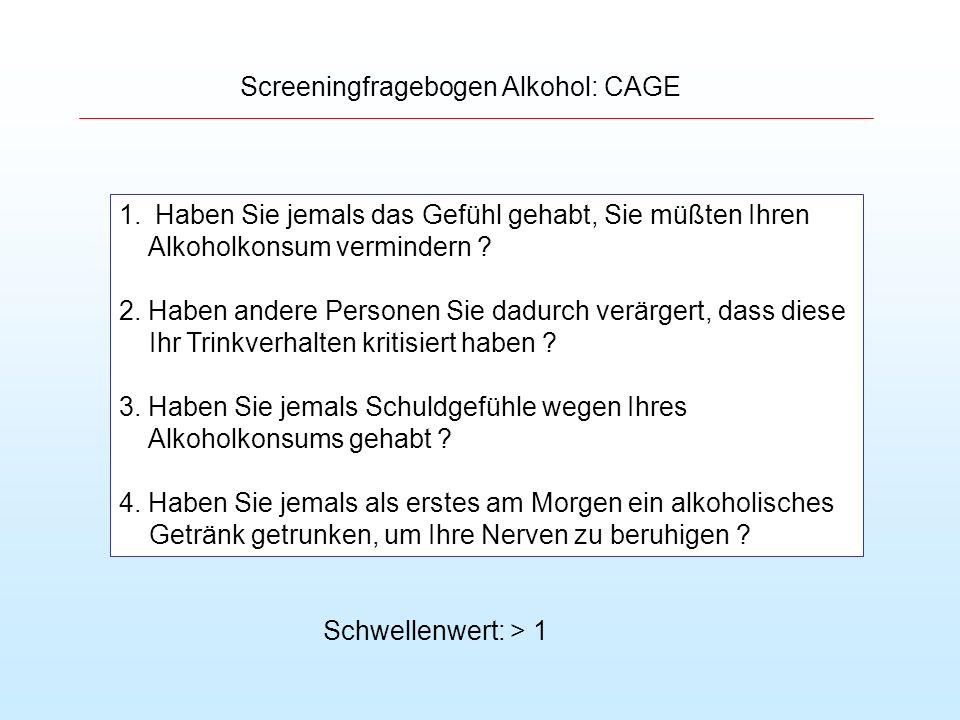 Screeningfragebogen Alkohol: CAGE