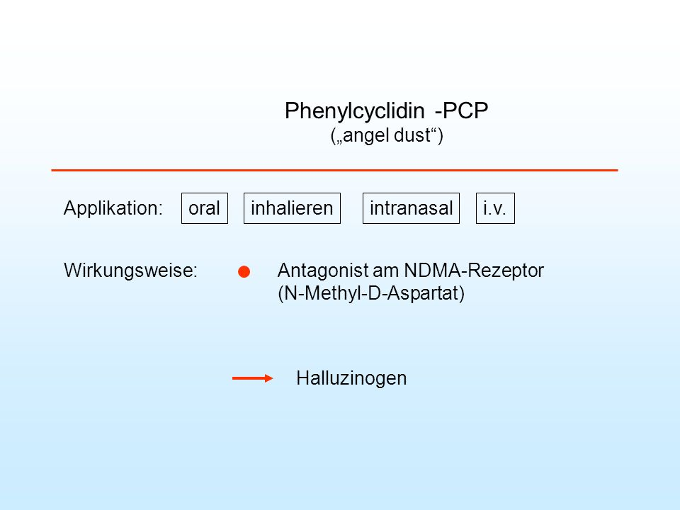 "Phenylcyclidin -PCP (""angel dust ) Applikation: inhalieren intranasal"