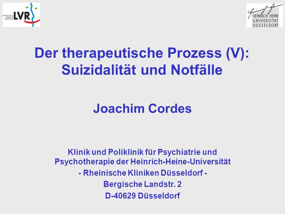 Der therapeutische Prozess (V): Suizidalität und Notfälle