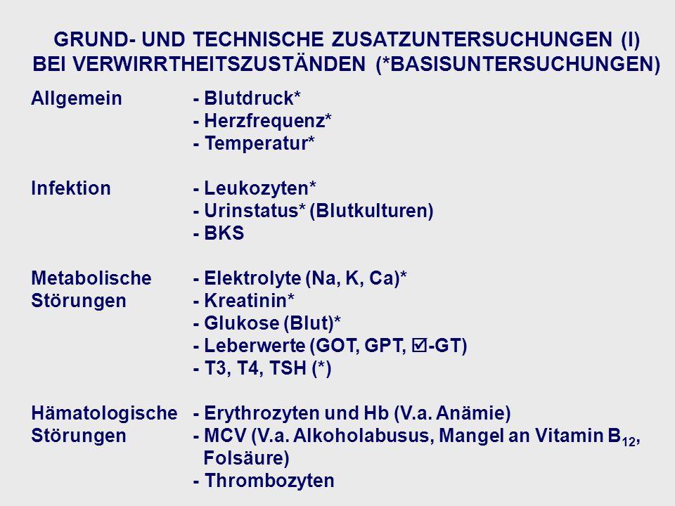 GRUND- UND TECHNISCHE ZUSATZUNTERSUCHUNGEN (I)