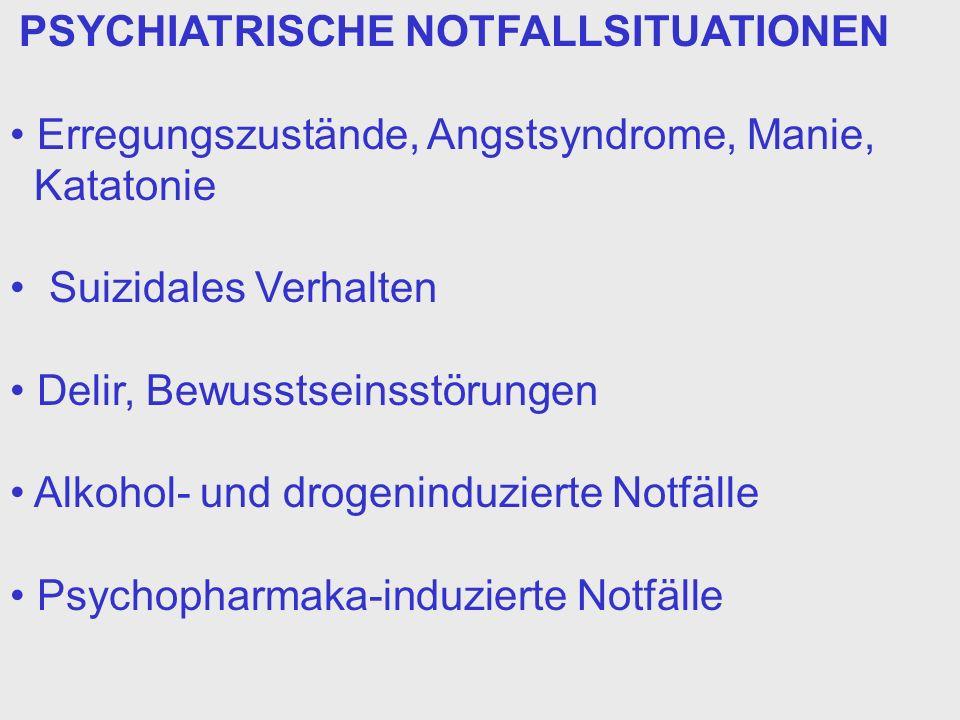Erregungszustände, Angstsyndrome, Manie, Katatonie
