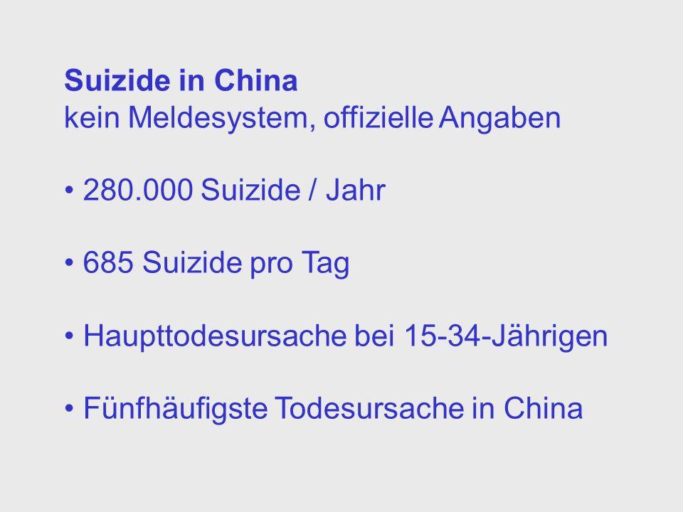 Suizide in Chinakein Meldesystem, offizielle Angaben. 280.000 Suizide / Jahr. 685 Suizide pro Tag. Haupttodesursache bei 15-34-Jährigen.