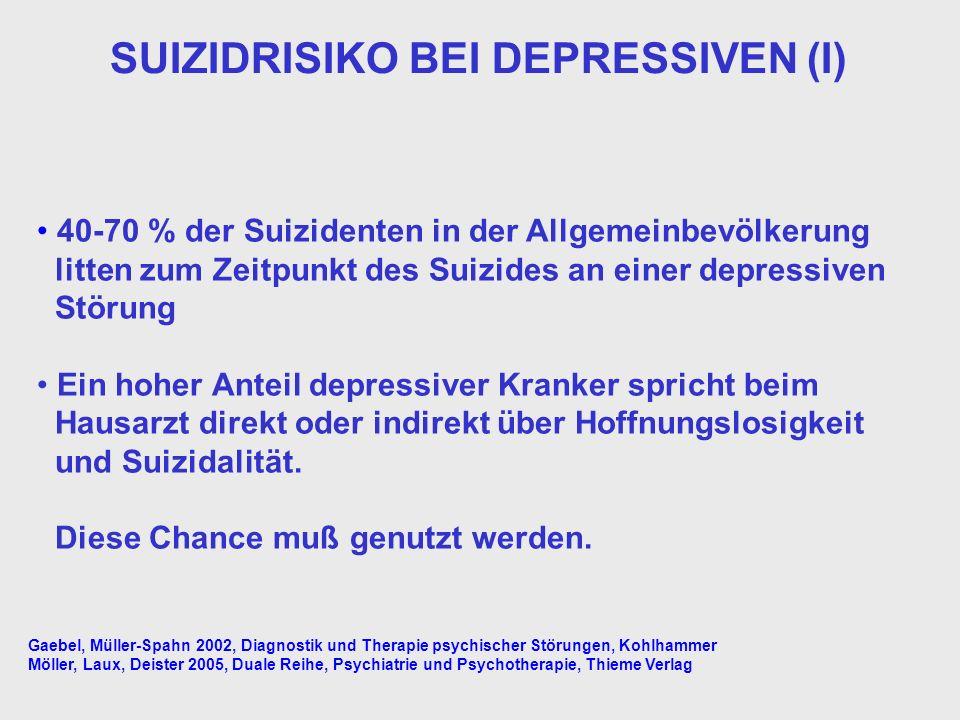 SUIZIDRISIKO BEI DEPRESSIVEN (I)