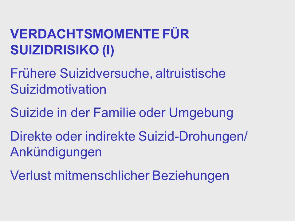 VERDACHTSMOMENTE FÜR SUIZIDRISIKO (I)