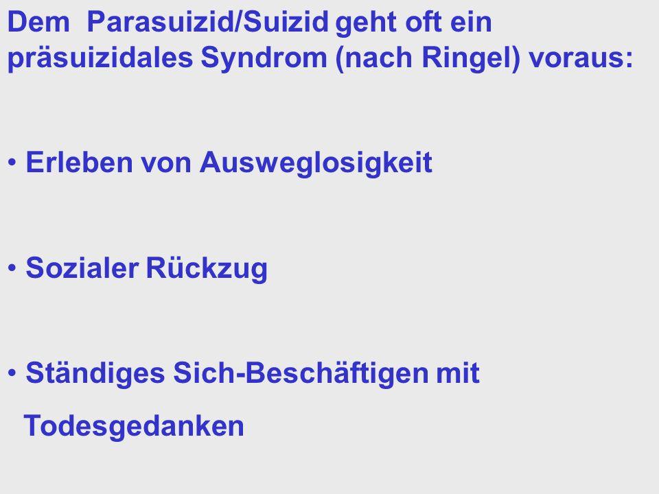 Dem Parasuizid/Suizid geht oft ein präsuizidales Syndrom (nach Ringel) voraus: