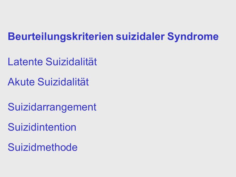 Beurteilungskriterien suizidaler Syndrome