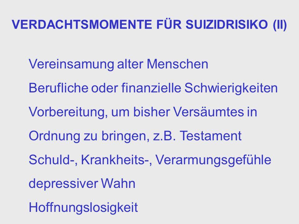 VERDACHTSMOMENTE FÜR SUIZIDRISIKO (II)