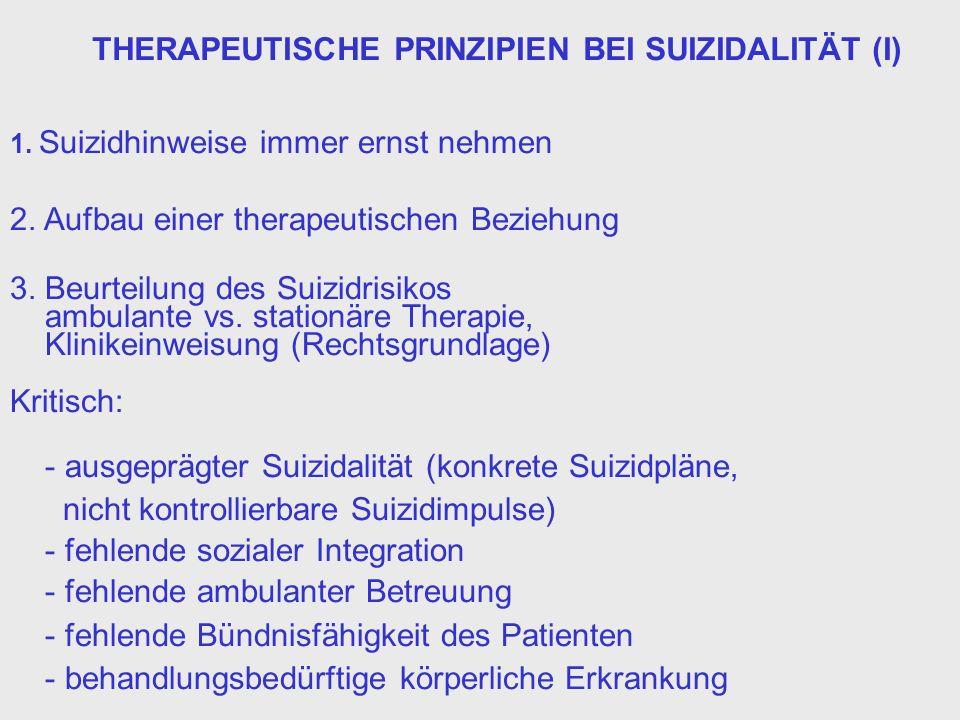 THERAPEUTISCHE PRINZIPIEN BEI SUIZIDALITÄT (I)