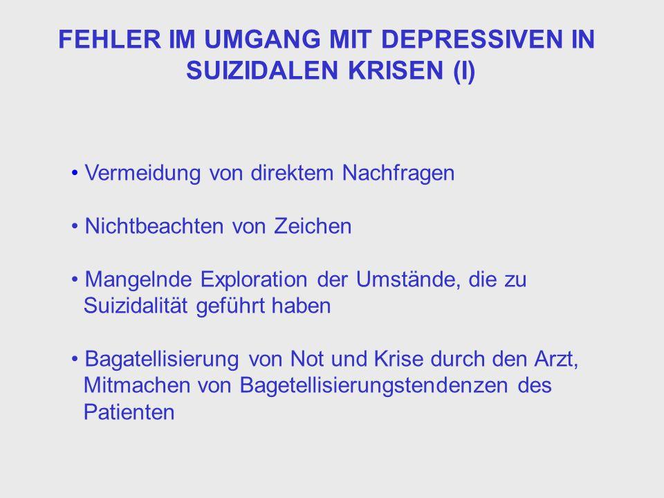 FEHLER IM UMGANG MIT DEPRESSIVEN IN