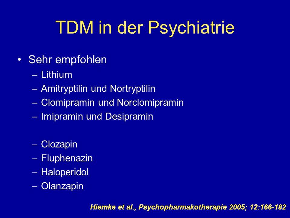 TDM in der Psychiatrie Sehr empfohlen Lithium