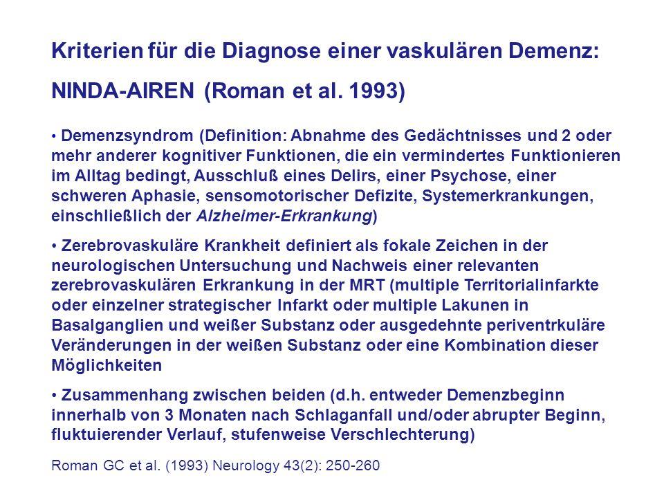 Kriterien für die Diagnose einer vaskulären Demenz: