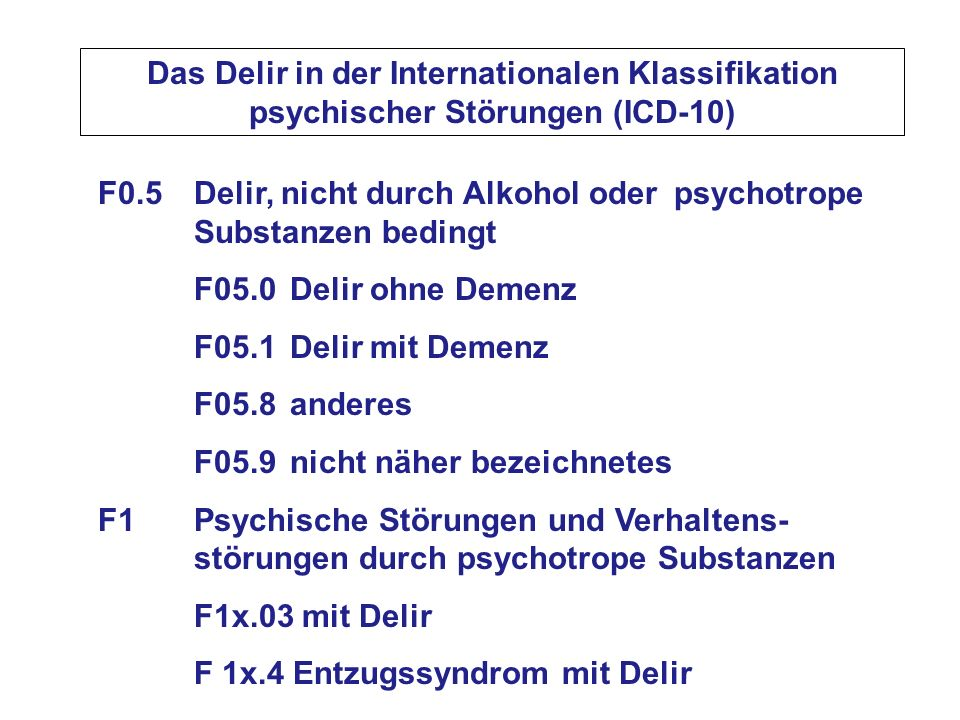 Das Delir in der Internationalen Klassifikation psychischer Störungen (ICD-10)