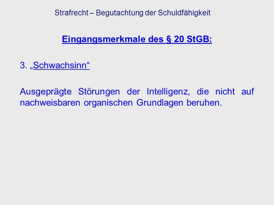 Eingangsmerkmale des § 20 StGB: