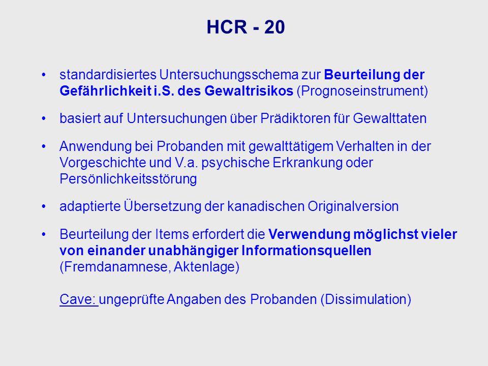 HCR - 20 standardisiertes Untersuchungsschema zur Beurteilung der Gefährlichkeit i.S. des Gewaltrisikos (Prognoseinstrument)