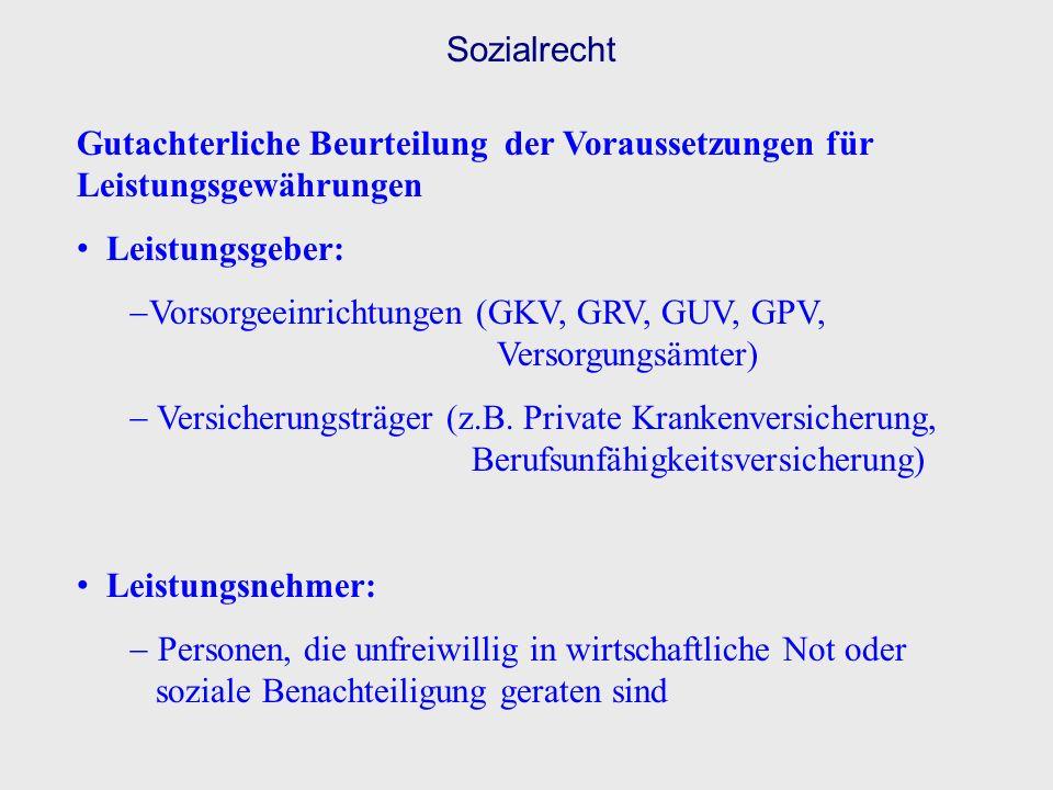 Sozialrecht Gutachterliche Beurteilung der Voraussetzungen für Leistungsgewährungen. Leistungsgeber:
