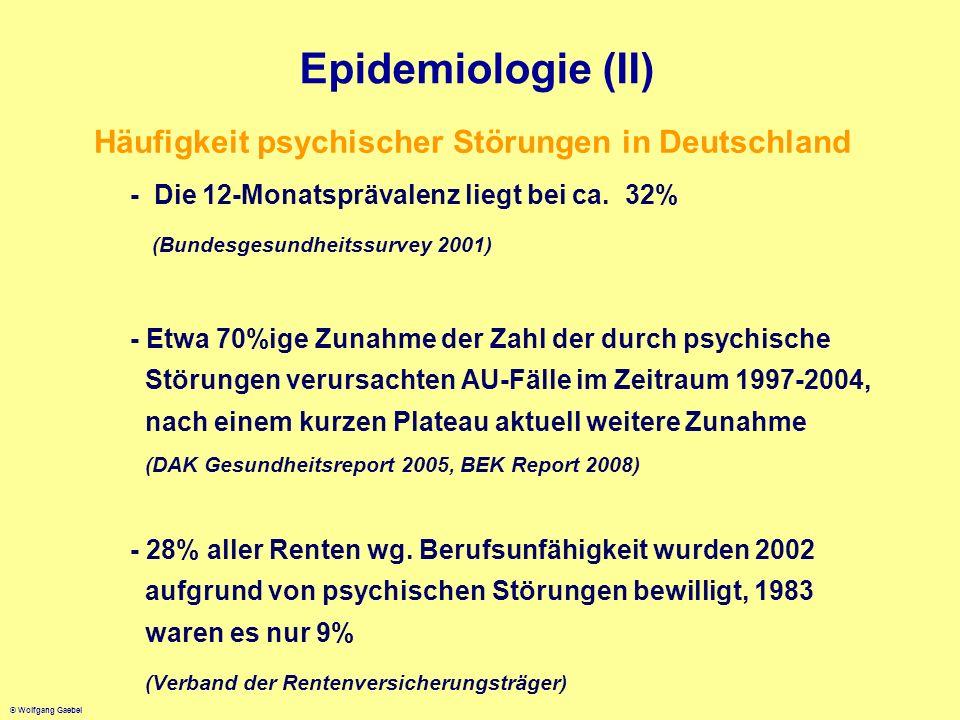 Epidemiologie (II) Häufigkeit psychischer Störungen in Deutschland