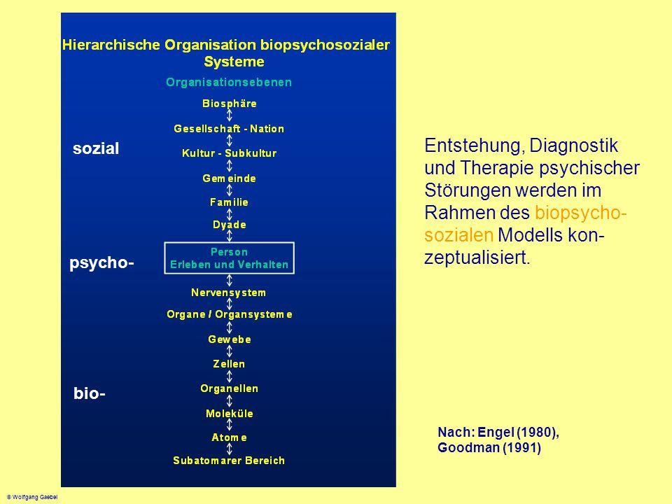 sozial Entstehung, Diagnostik und Therapie psychischer Störungen werden im Rahmen des biopsycho-sozialen Modells kon-zeptualisiert.