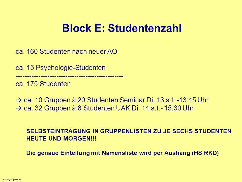 Block E: Studentenzahl