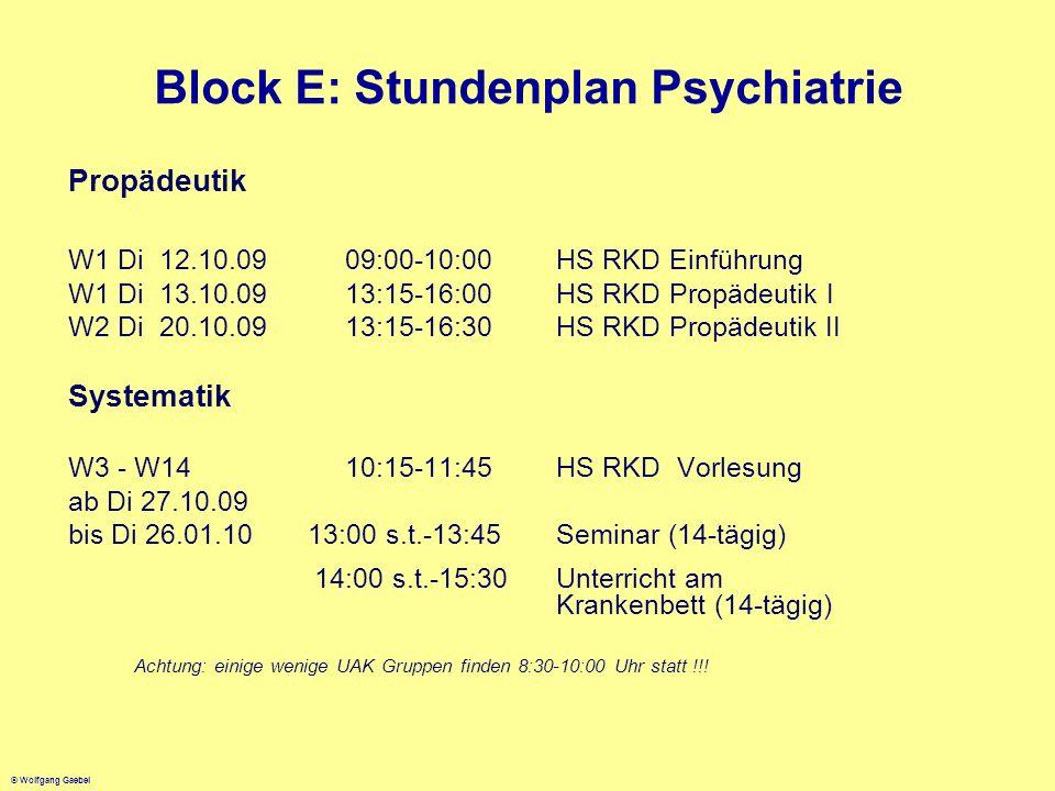 Block E: Stundenplan Psychiatrie