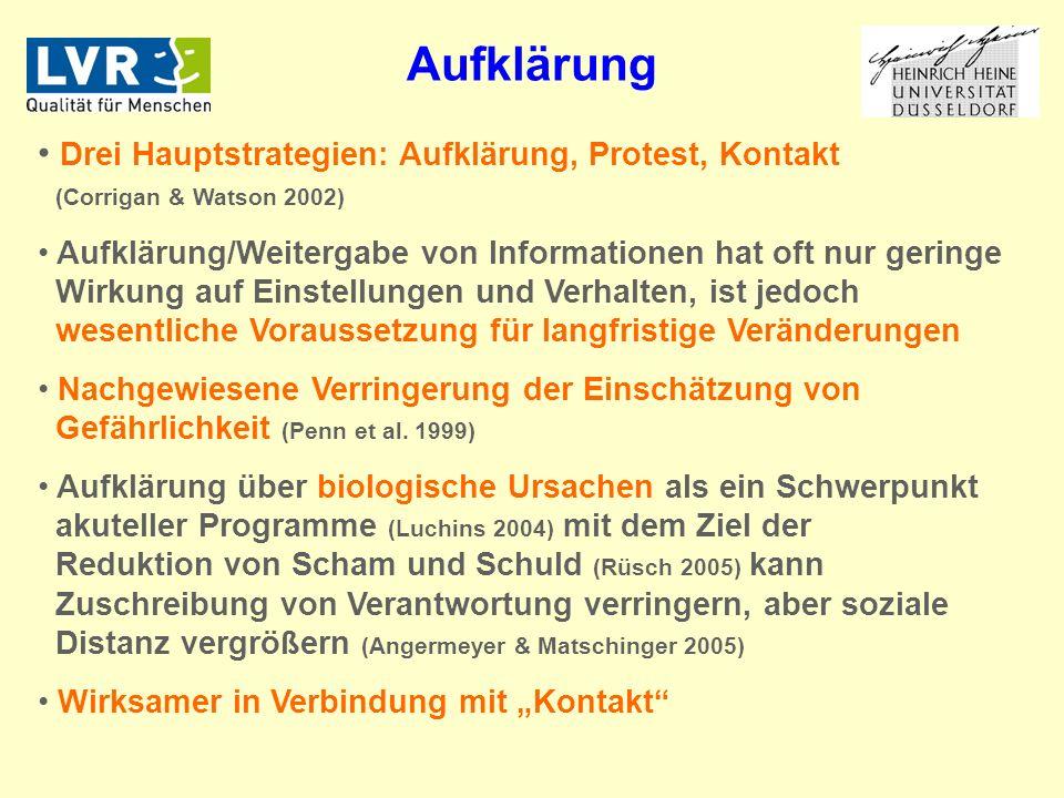 Aufklärung Drei Hauptstrategien: Aufklärung, Protest, Kontakt (Corrigan & Watson 2002)