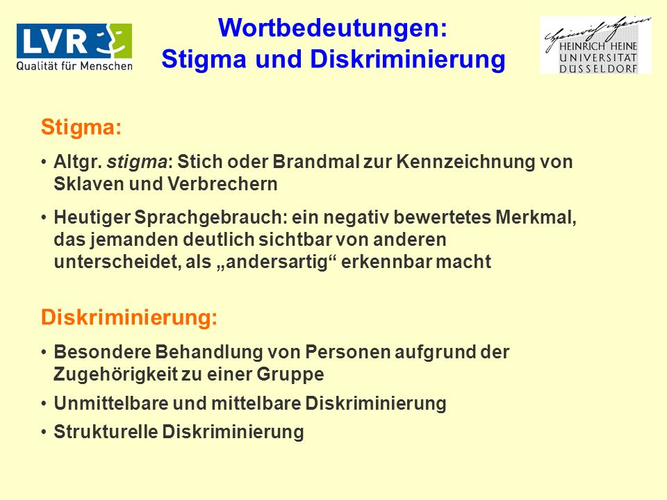 Wortbedeutungen: Stigma und Diskriminierung