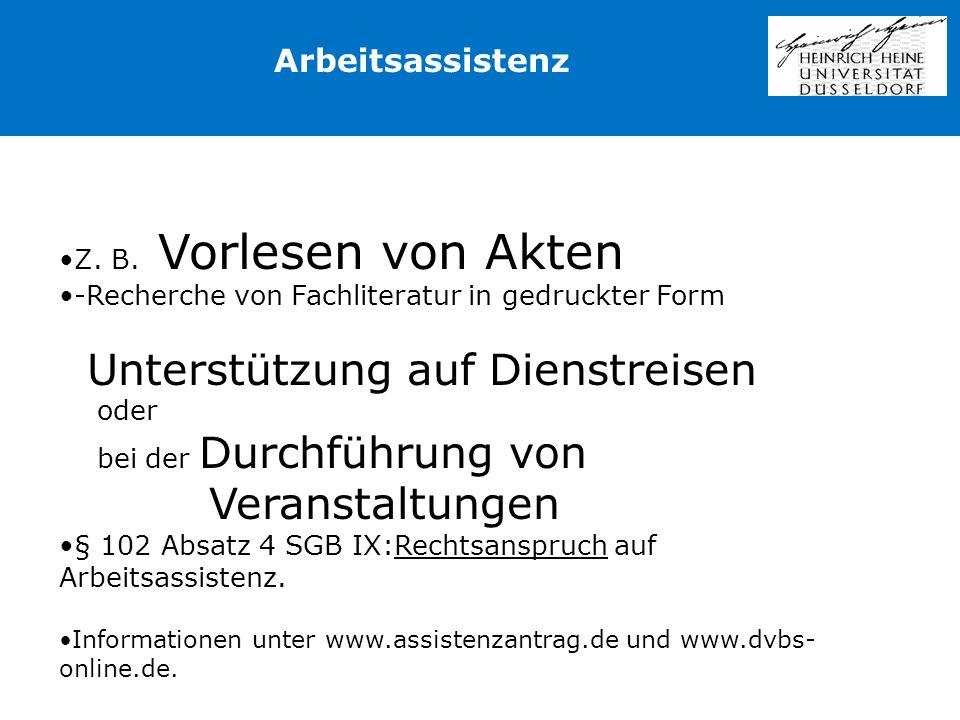 Veranstaltungen Arbeitsassistenz Z. B. Vorlesen von Akten