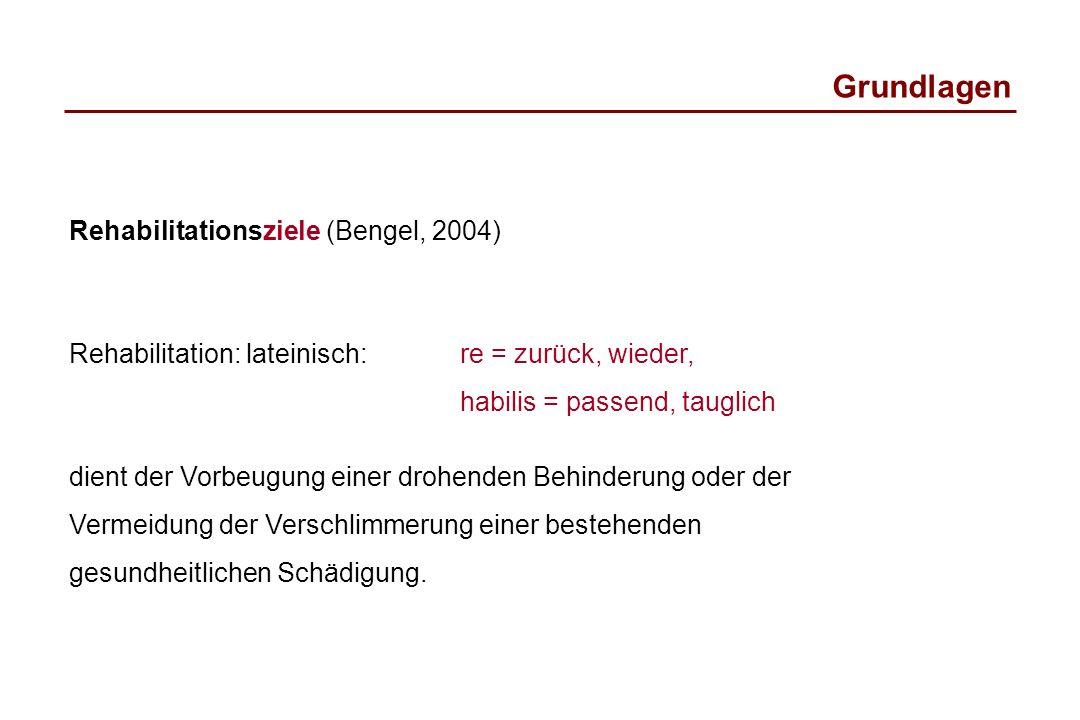 Grundlagen Rehabilitationsziele (Bengel, 2004)