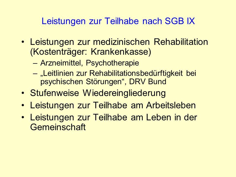 Leistungen zur Teilhabe nach SGB IX