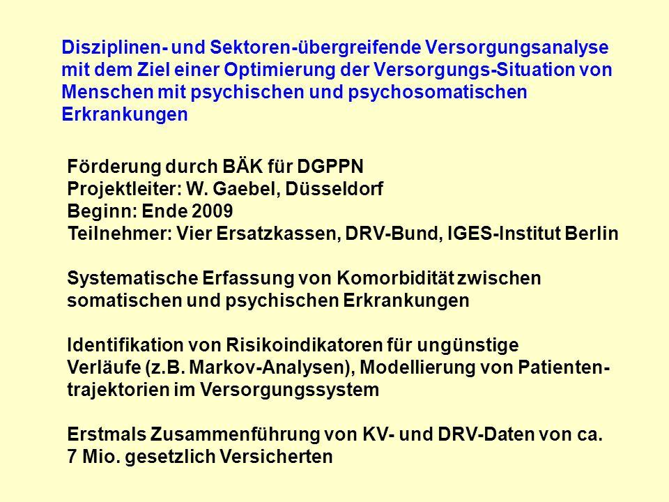 Förderung durch BÄK für DGPPN Projektleiter: W. Gaebel, Düsseldorf