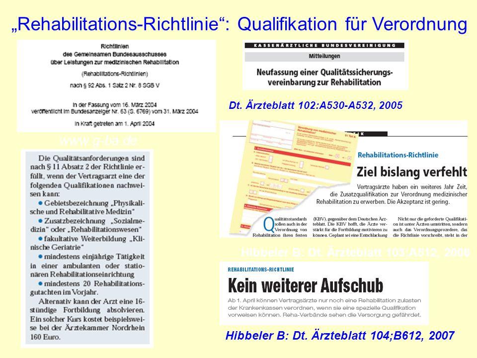 """""""Rehabilitations-Richtlinie : Qualifikation für Verordnung"""