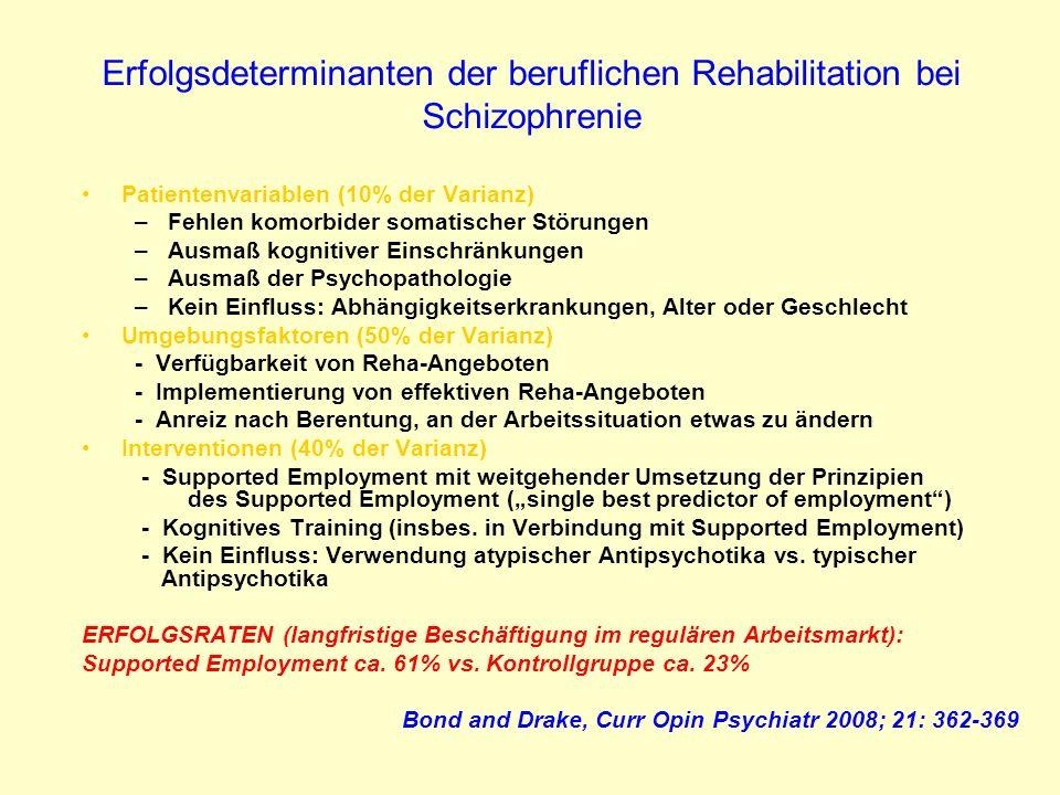 Erfolgsdeterminanten der beruflichen Rehabilitation bei Schizophrenie