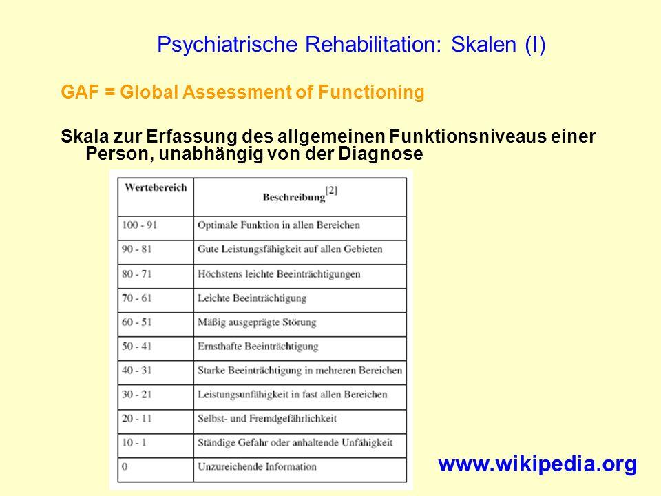 Psychiatrische Rehabilitation: Skalen (I)