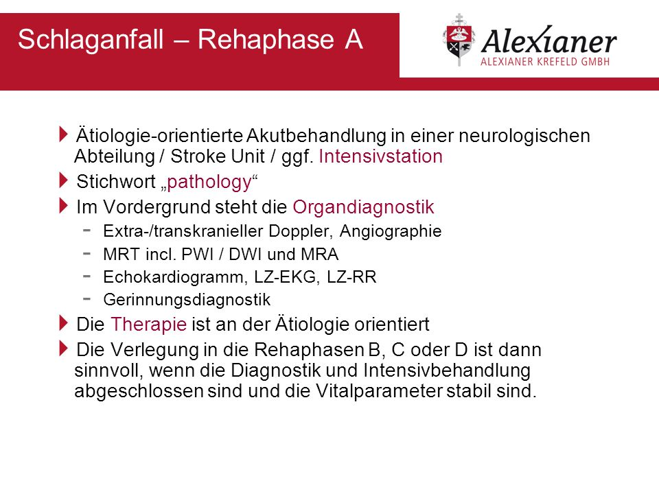 Schlaganfall – Rehaphase A