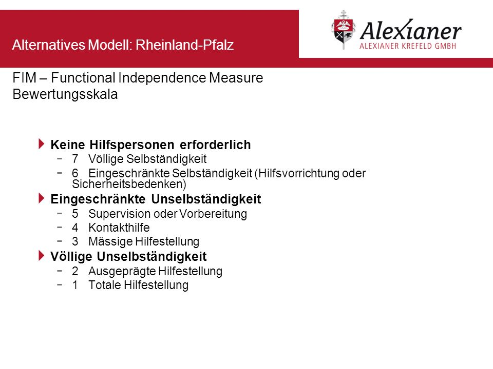 Alternatives Modell: Rheinland-Pfalz FIM – Functional Independence Measure Bewertungsskala