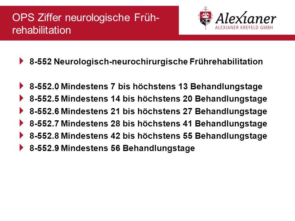 OPS Ziffer neurologische Früh- rehabilitation