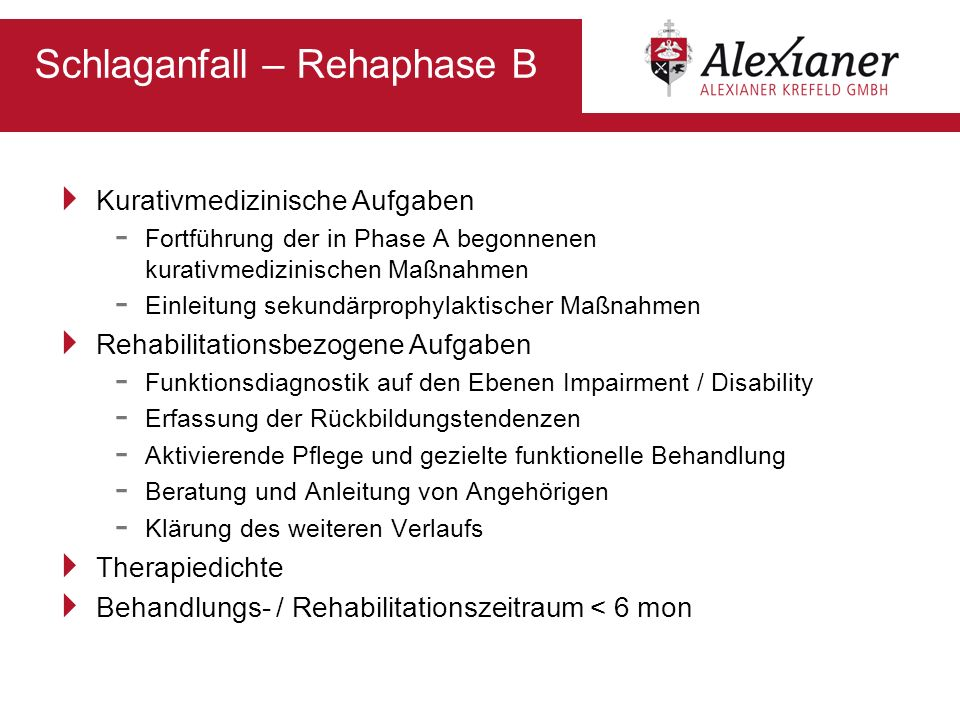 Schlaganfall – Rehaphase B