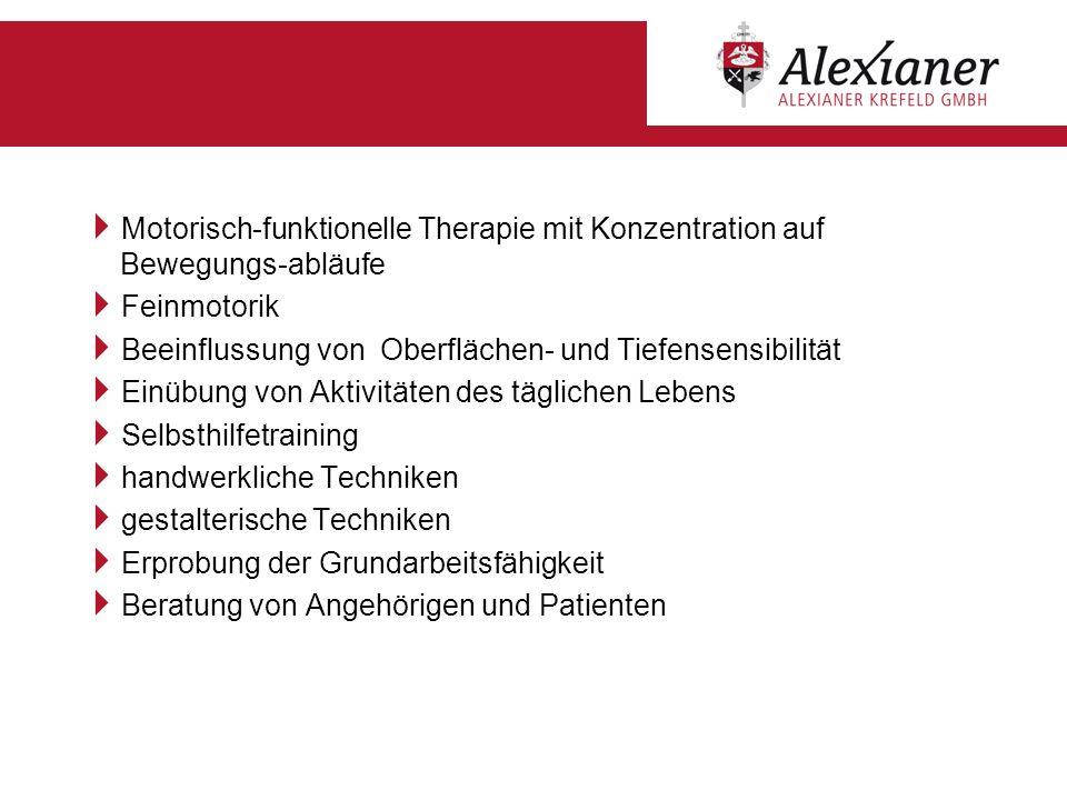 Ergotherapie Motorisch-funktionelle Therapie mit Konzentration auf Bewegungs-abläufe. Feinmotorik.