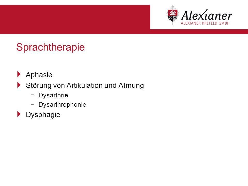 Sprachtherapie Aphasie Störung von Artikulation und Atmung Dysphagie