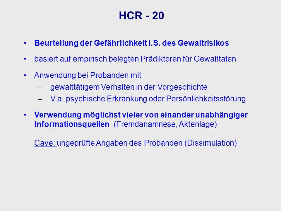 HCR - 20 Beurteilung der Gefährlichkeit i.S. des Gewaltrisikos