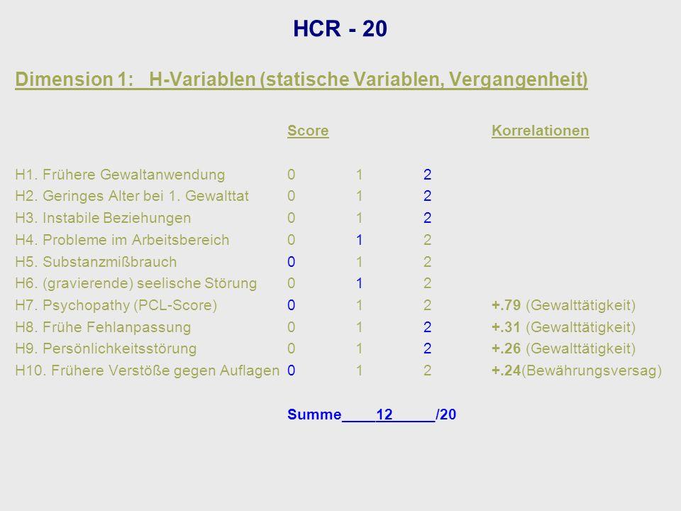 HCR - 20 Dimension 1: H-Variablen (statische Variablen, Vergangenheit)