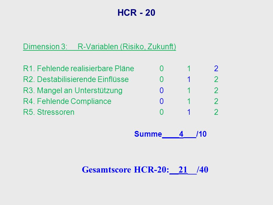 Gesamtscore HCR-20:__21__/40