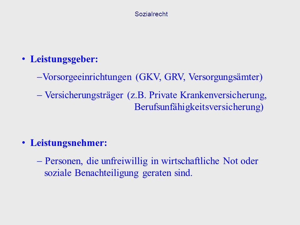 Vorsorgeeinrichtungen (GKV, GRV, Versorgungsämter)