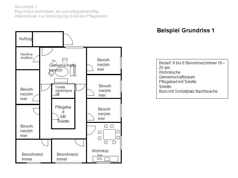 Grundriss 1 Psychisch behindert, alt und pflegebedürftig Alternativen zur Versorgung in einem Pflegeheim