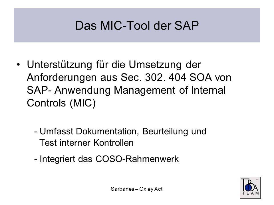 Das MIC-Tool der SAPUnterstützung für die Umsetzung der Anforderungen aus Sec. 302. 404 SOA von SAP- Anwendung Management of Internal Controls (MIC)