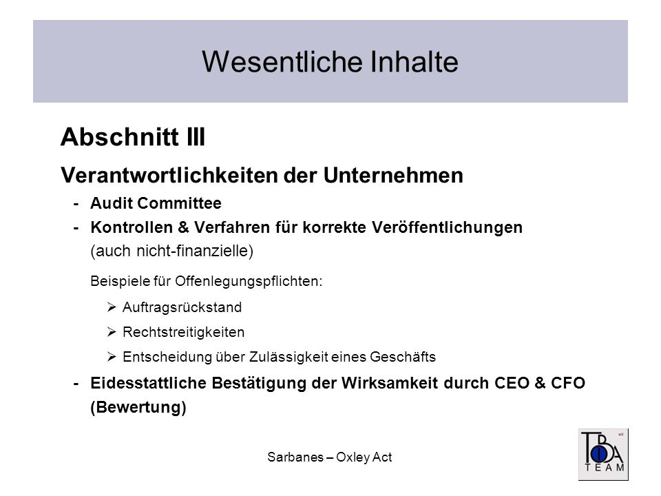Wesentliche Inhalte Abschnitt III Verantwortlichkeiten der Unternehmen