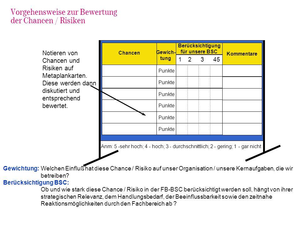 Vorgehensweise zur Bewertung der Chancen / Risiken